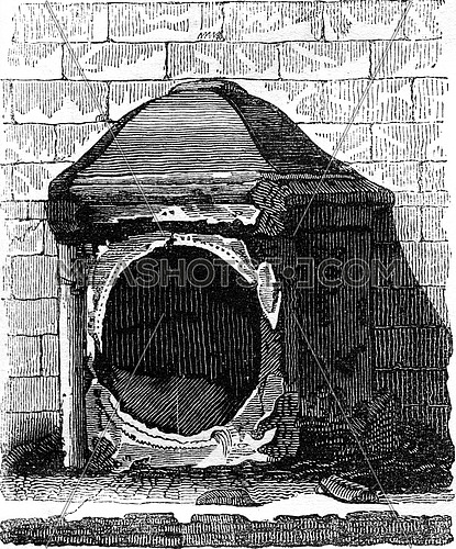 London stone, derives from the Antique Cabinet, vintage engraved illustration. Colorful History of England, 1837.