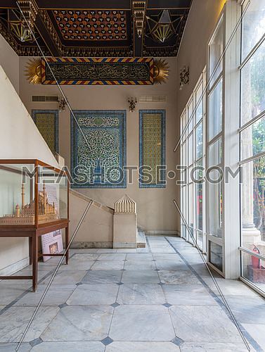 Historic Manial palace of Prince Mohammed Ali. Entrance of the residence of prince's mother decorated with Turkish glazed ceramic tiles, Cairo, Egypt