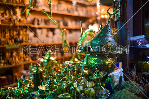 oriental objects for sale in a market in egypt