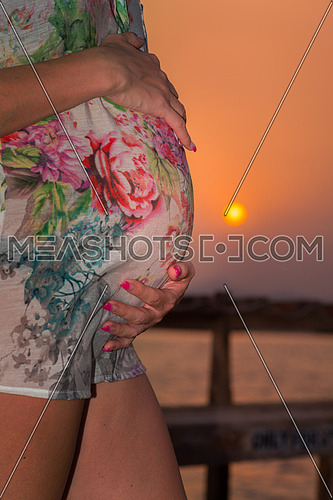 In the picture a pregnant woman on the pier while caressing her belly at sunset.