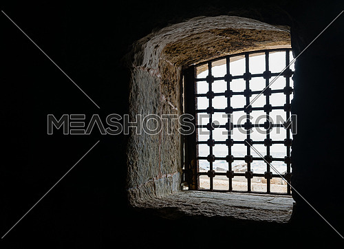One of the windows of  the Citadel of Qaitbay, located in Alexandria, Egypt. A 15th-century defensive fortress located on the Mediterranean sea coast, established in 1477 AD (882 AH)