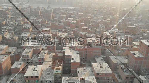 Drone shot of buildings in the outskirts of Cairo