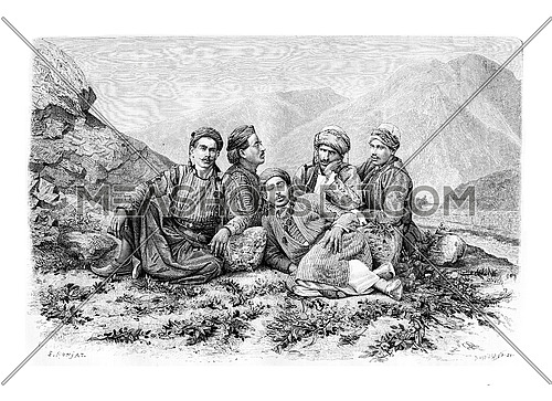 Camel Drivers Resting, vintage engraved illustration. Le Tour du Monde, Travel Journal, 1881