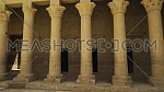 tracking shot inside Temple of Phila showing columns, Aswan Egypt