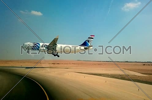 Shot from Cockpit for Egypt Air Airbus 330 Landing in Cairo Airport