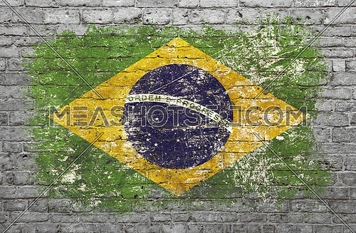 Grunge distressed flag of Brazil painted on old weathered grey brick wall