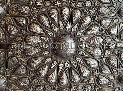 Ornaments of the bronze-plate ornate door of the residence hall of Manial Palace of Prince Mohammed Ali Tewfik, Cairo, Egypt