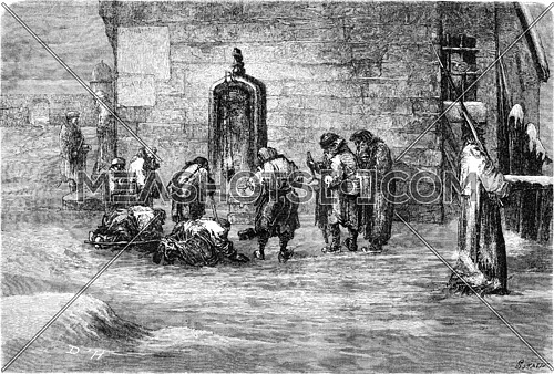 Russians worshiped the picture of Panagia, vintage engraved illustration. Le Tour du Monde, Travel Journal, (1865).