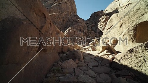 Reveal shot for passage in Sinai Mountain at day.