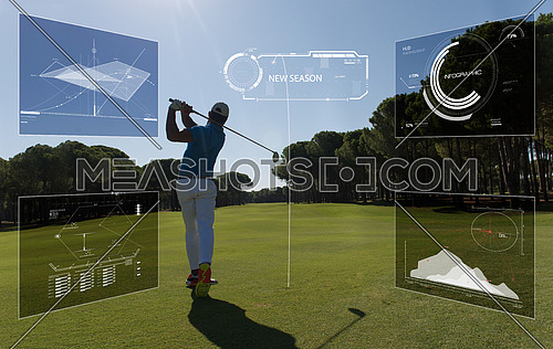 Pro golf player shot ball from sand bunker at course with statistics