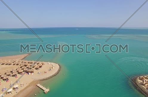 Drone shot flying above Al Gouna Marina to the sea at Day