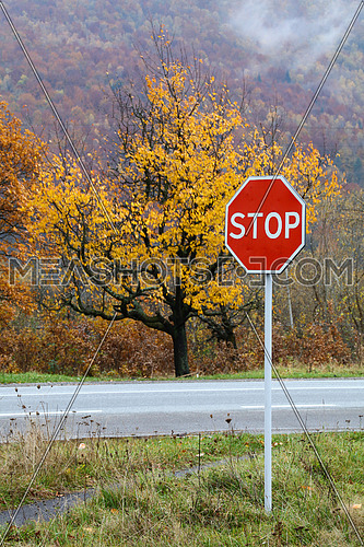 Close up road warning STOP sign over autumn mountain forest landscape background