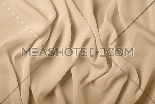 Close up abstract textile background of pastel beige folded pleats of fabric, elevated top view, directly above