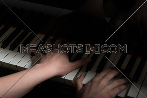 Piano Keys Pianist Hands Playing Classical Music Close Up