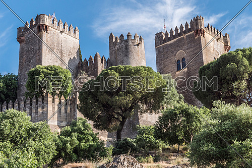 Almodovar del Rio, Córdoba, Spain - June 9, 2018: It is a fortitude of Moslem origin, it was a Roman fort and the current building has definitely origin Berber, of the year 760, Between the year 1901 and 1936 was restored by its owner, Rafael Desmaissieres y Farina, XII Count of Torralva, placed close to the Guadalquivir, take in Almodovar of the Rio, Cordoba province, Andalusia, Spain