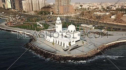 drone shot of the Jeddah mosque water front