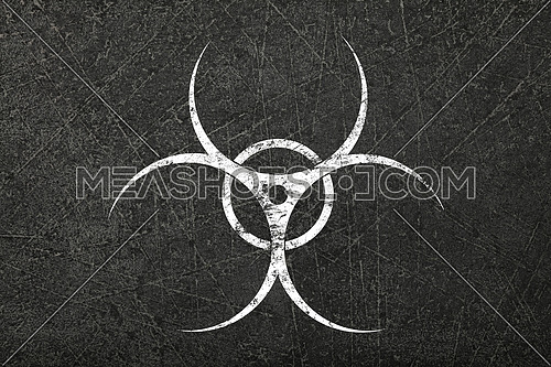 White biohazard warning sign painted over grunge grey concrete wall background with copy space