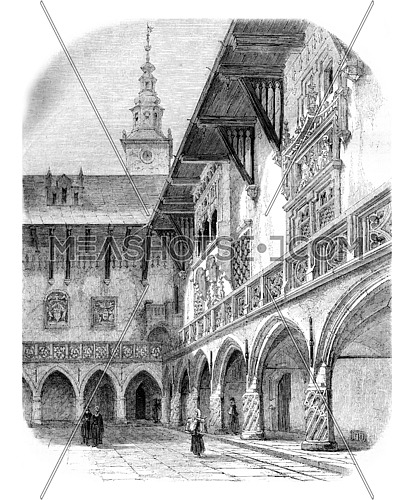 Court of the University of Krakow, vintage engraved illustration. Magasin Pittoresque 1861.