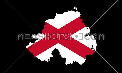Northern Ireland Flag and Map. Saint Patrick's Saltire Isolated On Black Background 3D illustration