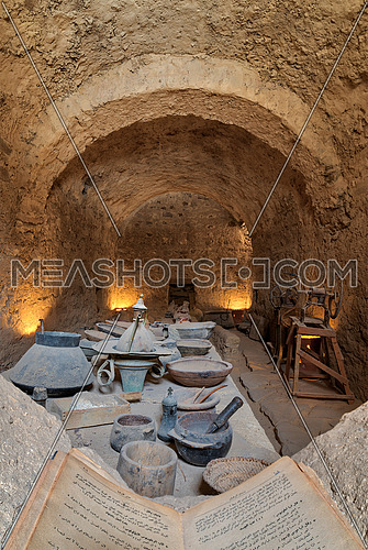 Ancient refectory at the Monastery of Saint Paul the Anchorite, located in the Eastern Desert, near the Red Sea mountains, Egypt