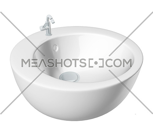 Modern round washbasin or sink, cream colored, isolated against a white background.
