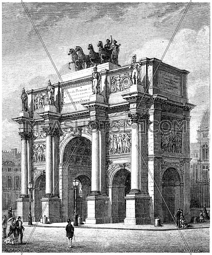 Arc de Triomphe du Carrousel, vintage engraved illustration. History of France – 1885.