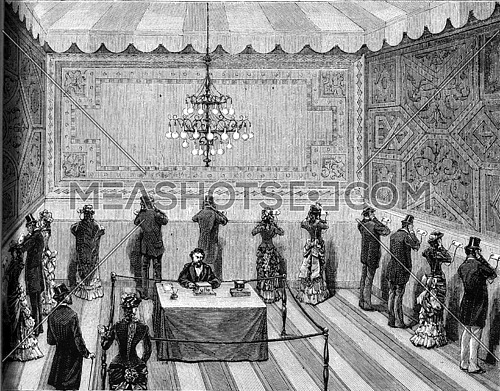 Phone Opera Auditions in electricity Exposition, vintage engraved illustration. Magasin Pittoresque (1882).