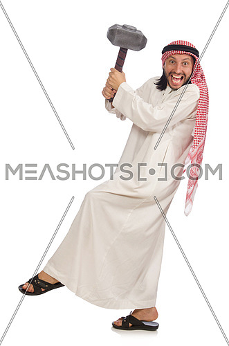 Angry arab man with hammer isolated on white