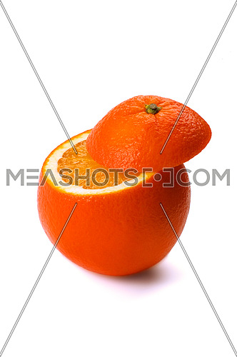 fresh ripe orange cutted on top ,isolated on white background