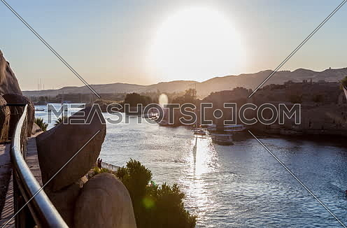 Fixed Shot for the River Nile in Aswan at sunset