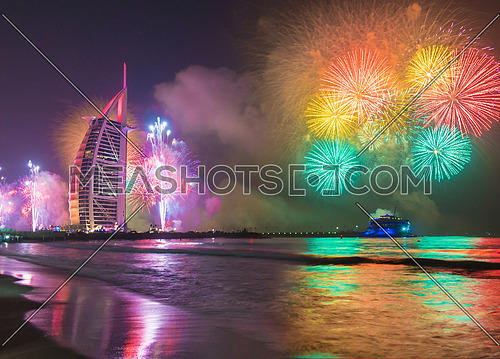 Burj Al Arab Colorful Fireworks in the new year eve
