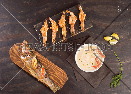Sea Food Meal, Shrimp with Sea food soap and Fish