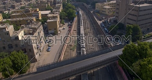 Reveal Shot from Drone for Metro Station in cairo at day