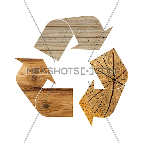 Illustration recycling symbol of different industrial wood construction materials isolated on white background