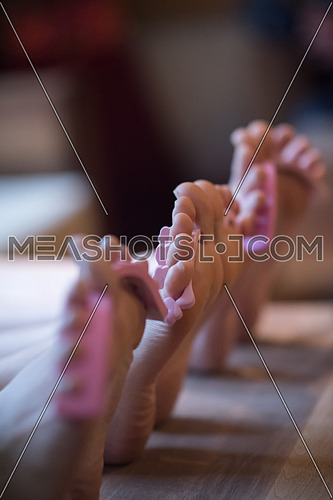Close up on female feet in a spa