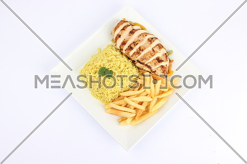 a photo for a grilled chicken meal including french fries and rice