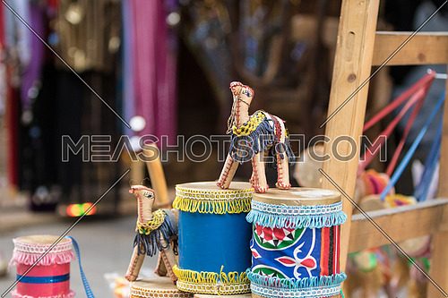 A small Camel and drums in an Egyptian souvenirs market in El-Moez Street, Old Cairo