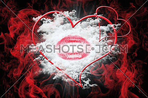 Heart and a Kiss With Red Smoke and White Fluffy Clouds. Valentine's Day Concept 3D Illustration
