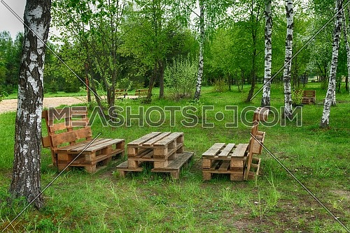 Outdoor furniture made from wood pallets surrounded by birch trees and greenery in summer sunshine