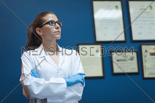 portrait of a young middle eastern woman in the office of modern laboratories