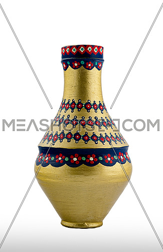 A Golden Egyptian pottery vessel made of clay, one of the oldest habits of the Ancient Egyptians
