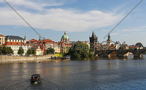 High angle view of Prague old town and Charles Bridge over Vltava river sunny day
