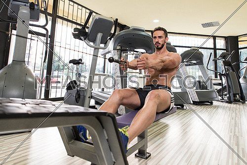 Young Bodybuilder Doing Heavy Weight Exercise For Back