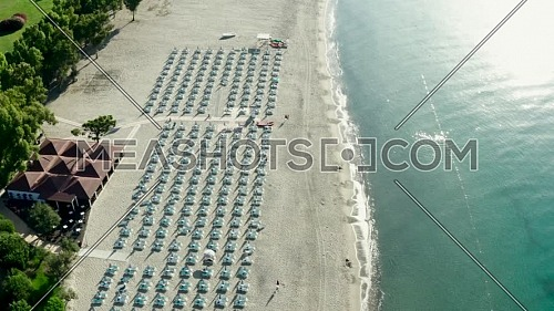 Aerial view of beautiful sea and beach at sunny day, Simeri Mare, Calabria, Southern Italy,