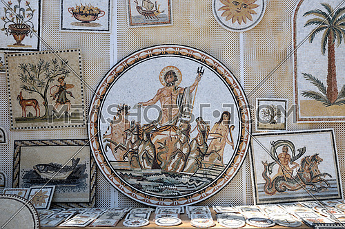 old roman mosaic art at museum in tunis africa