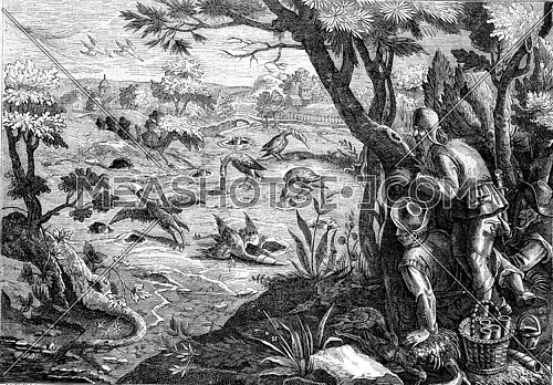 Hunting cranes, after Jean Stradan, vintage engraved illustration. Magasin Pittoresque 1873.
