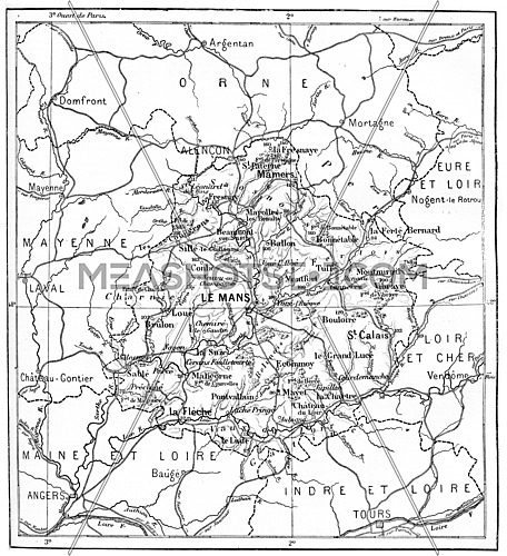 Old engraved illustration of map of Department of Sarthe. Dictionary of words and things - Larive and Fleury ? 1895