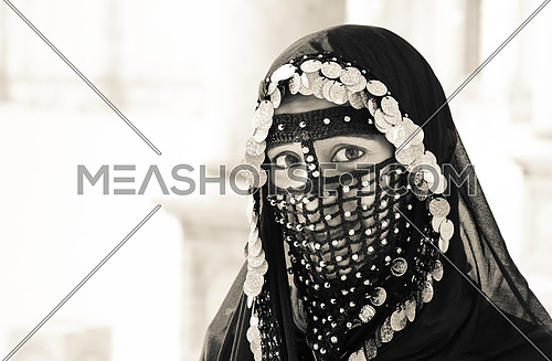 A Girl wearing old Egyptian costumes - Mohamed Ali mosque - Cairo- black & white