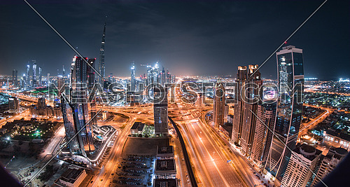 Burj Khalifa with Shiekh zayed road and downtown towers in a panoramic view