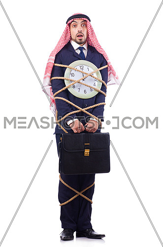 Arab businessman working against the deadling